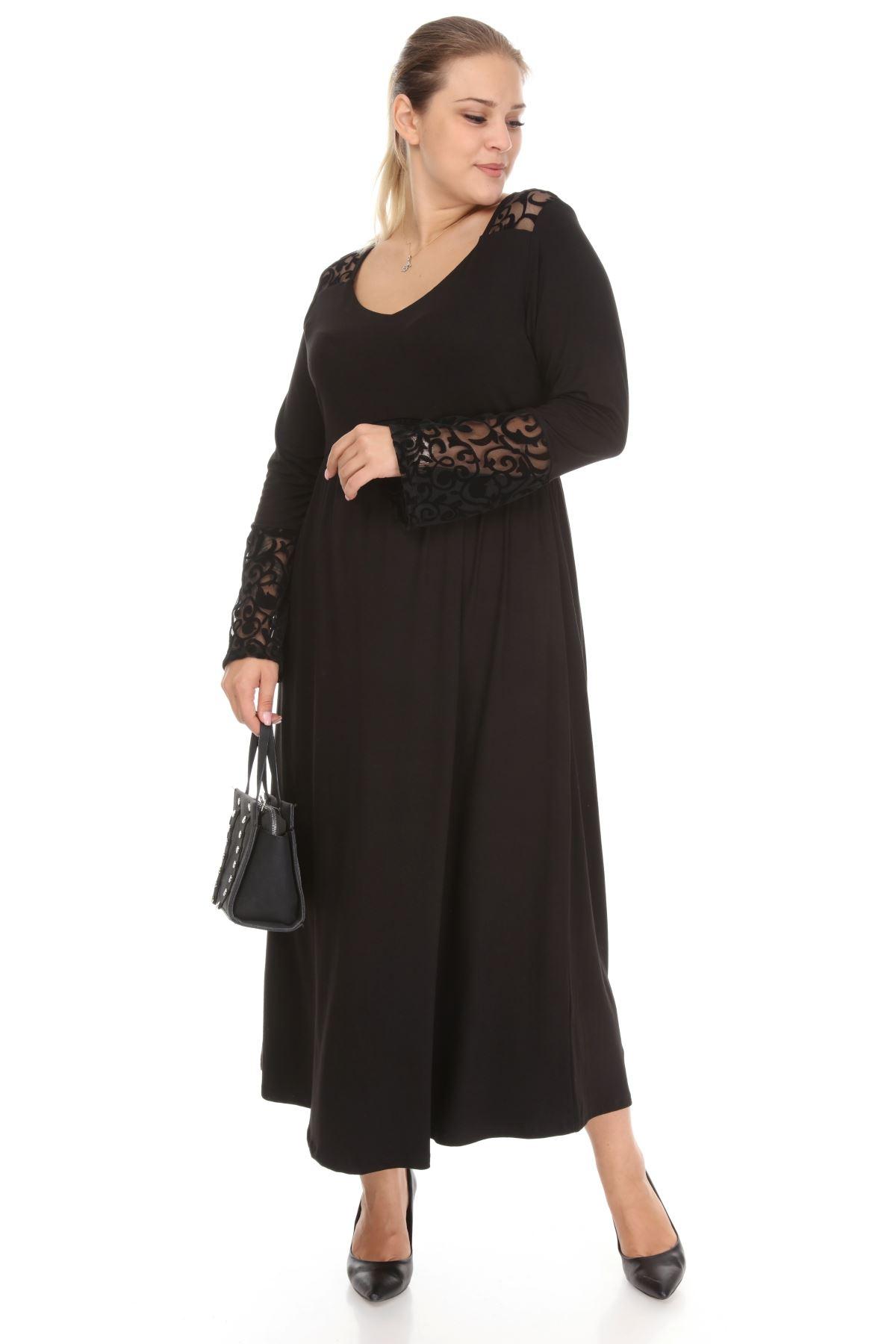 Dantelli Siyah Uzun Büyük Beden Elbise 28E-1267