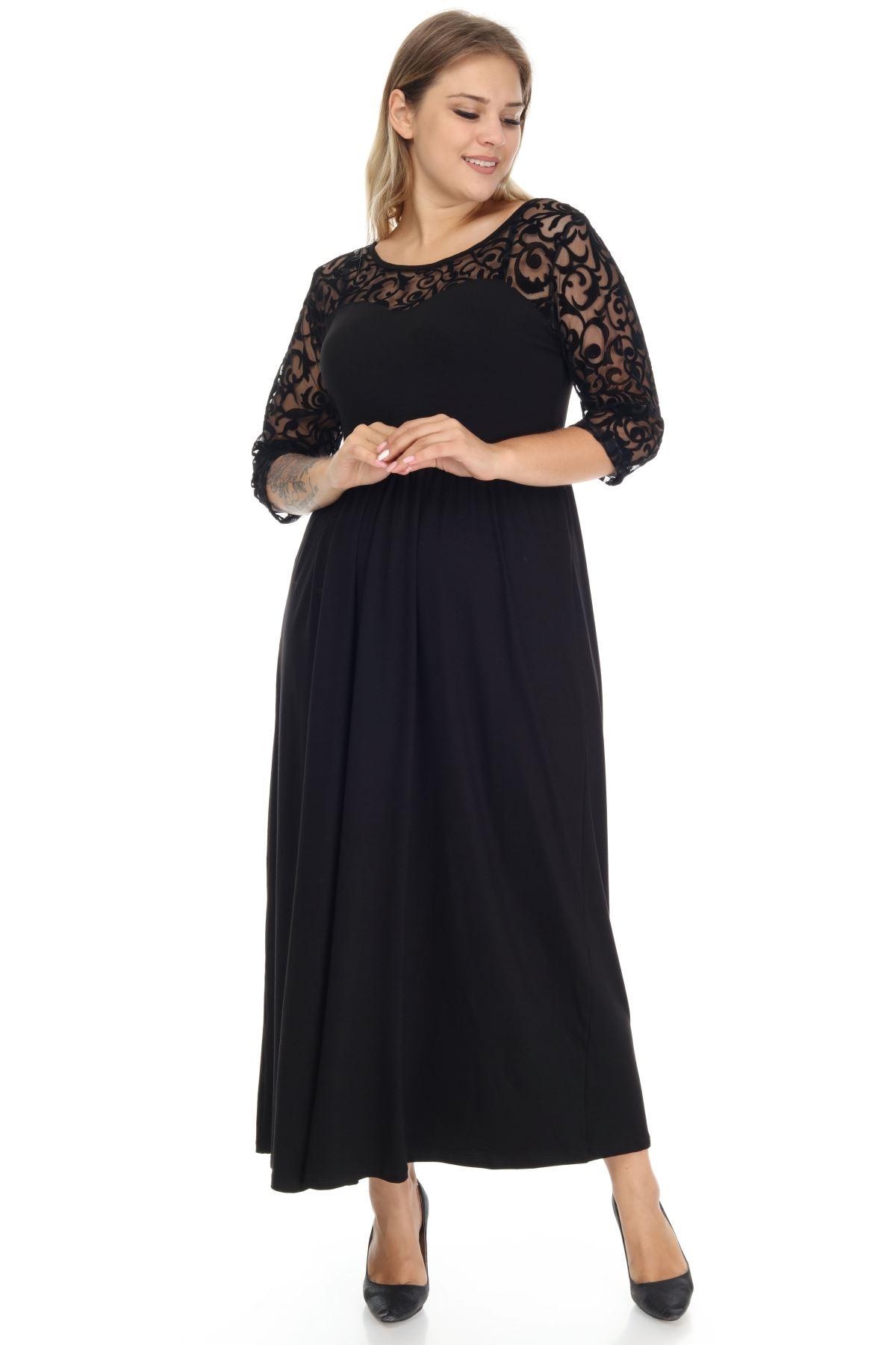 Dantelli Uzun Büyük Beden Elbise 9E-1272