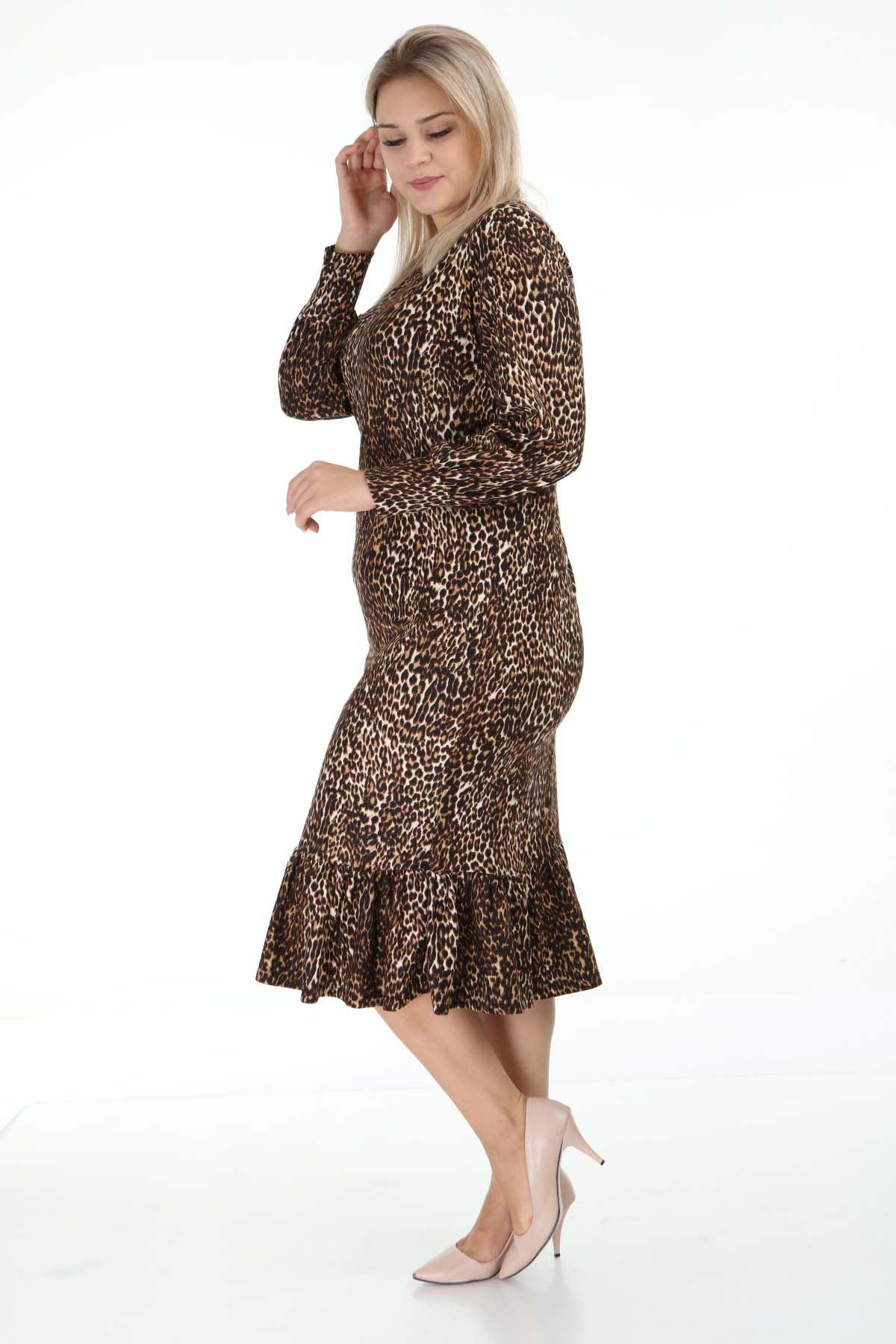 Desenli Manşetli Büyük Beden Elbise 2C-1262