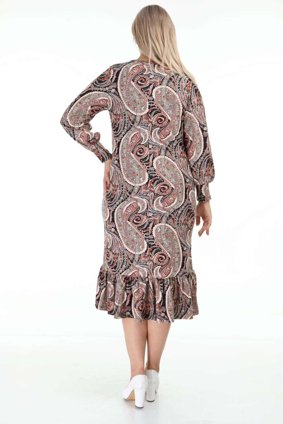 Desenli Manşet Kollu Büyük Beden Elbise 26F-1271