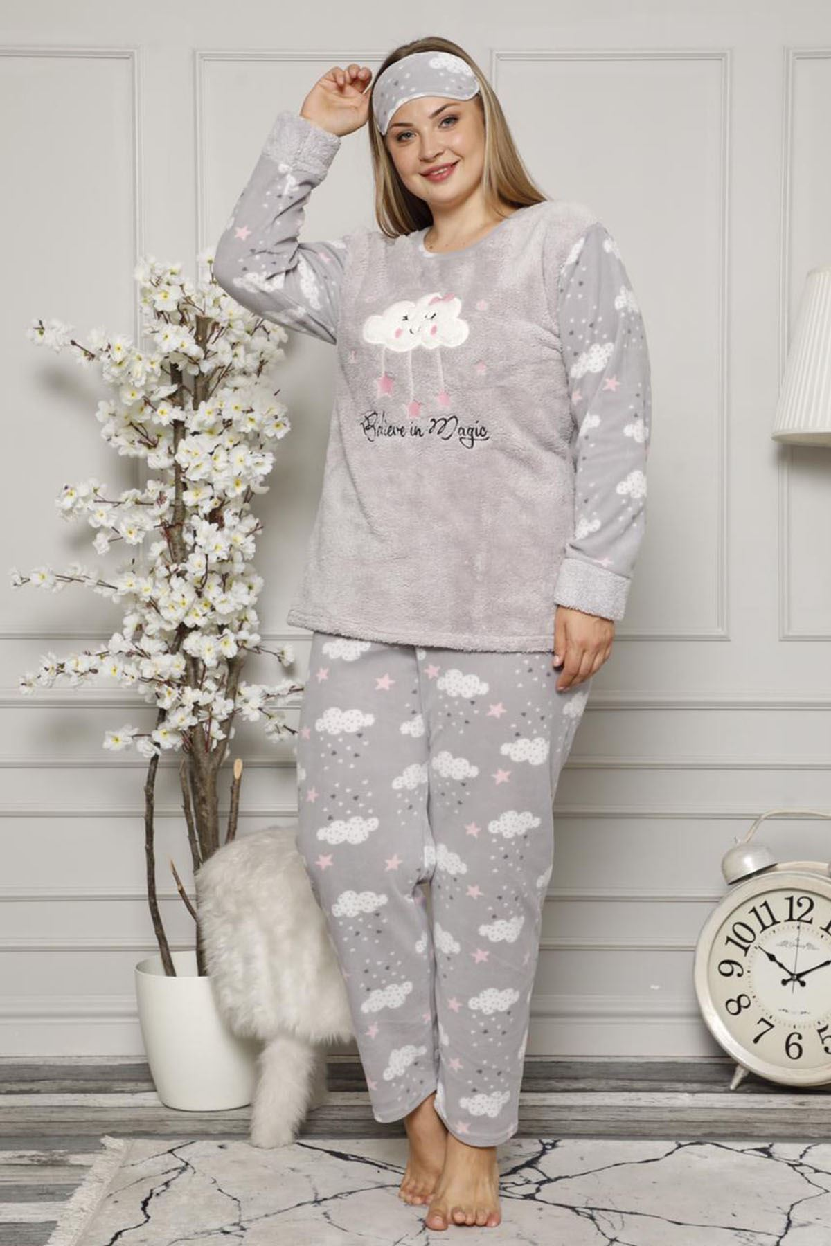 Welsoft Polar Gri Pijama Takımı 32D-9041G
