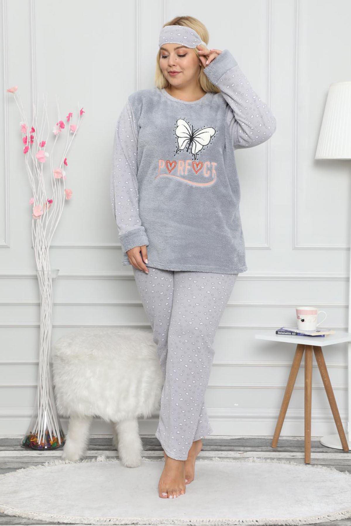 Welsoft Kelebekli Gri Pijama Takımı 32C-59056G