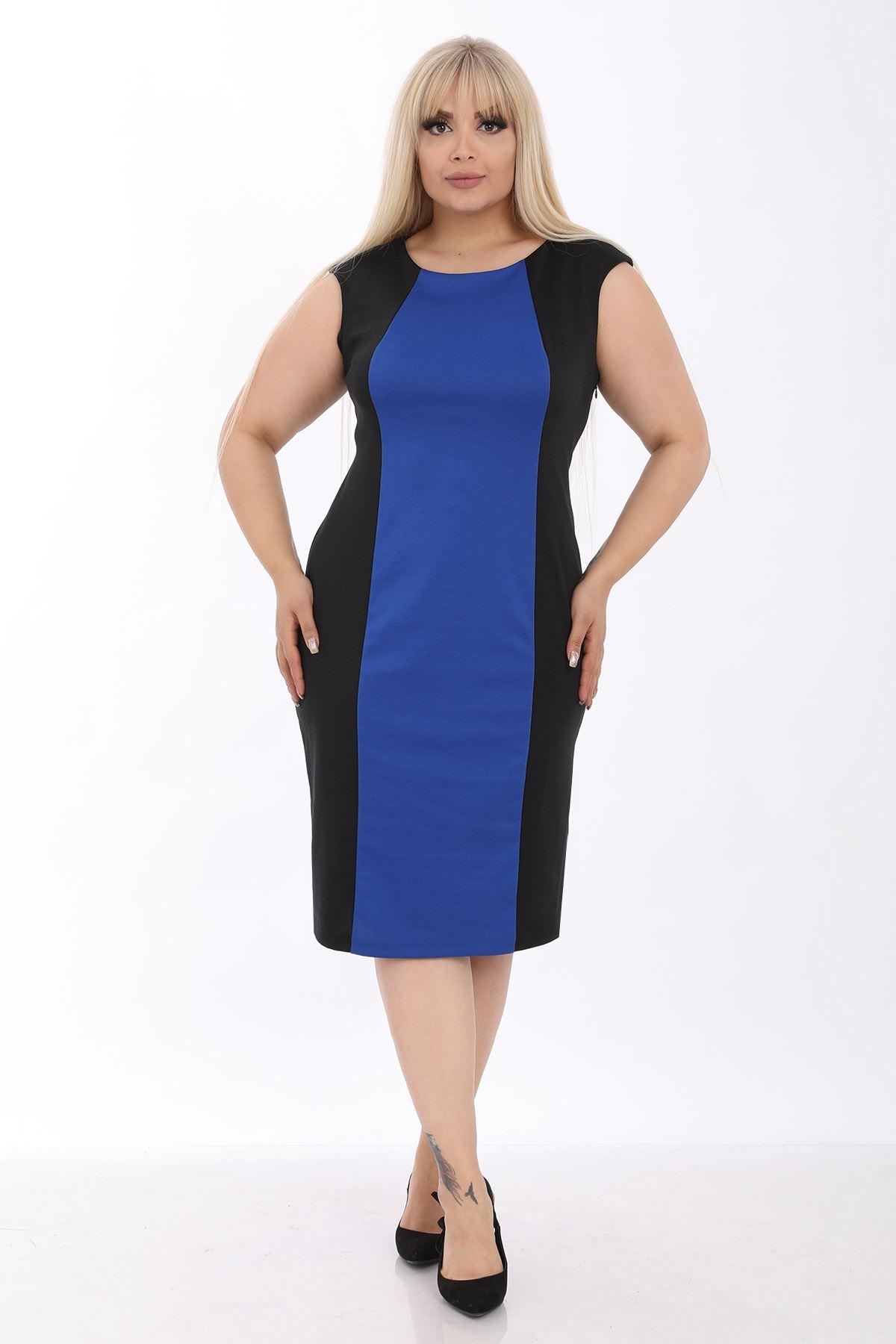Mavi Siyah Kolsuz Büyük Beden Elbise J1-1236