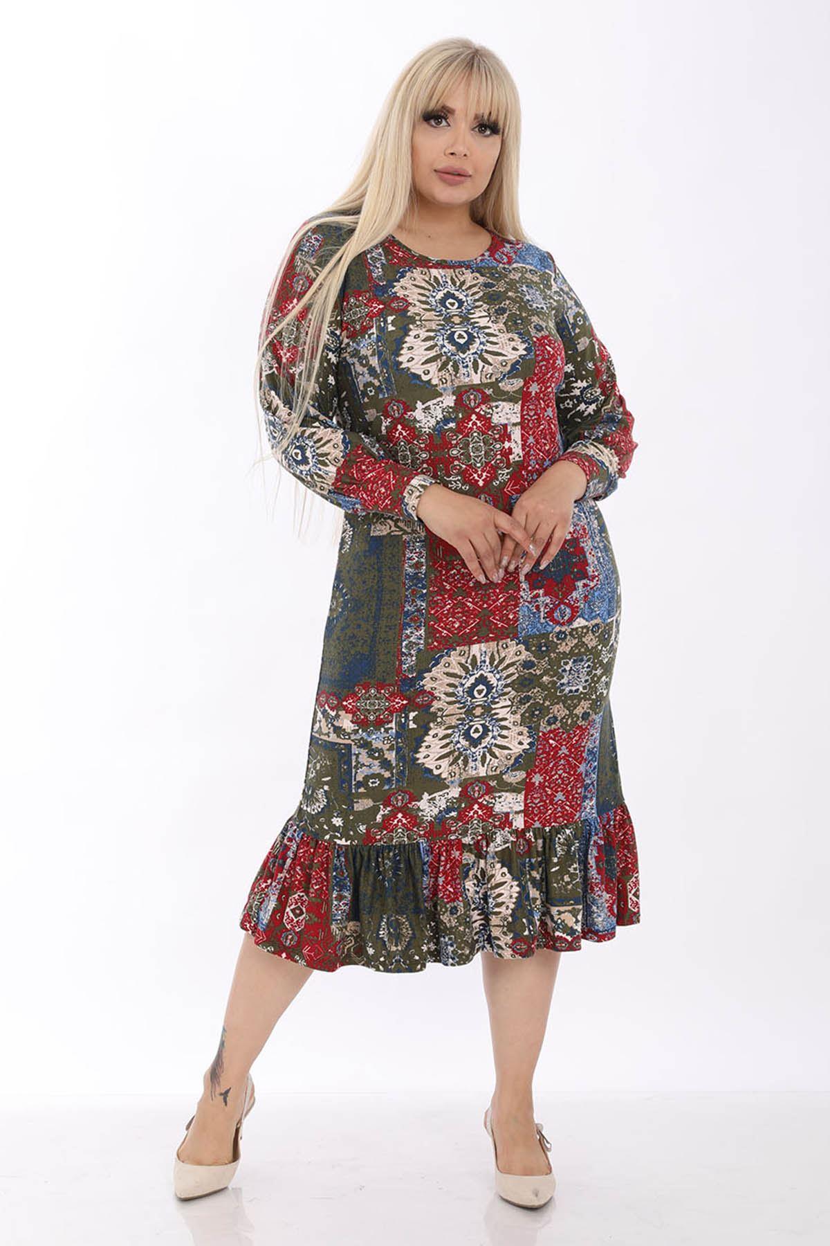 Manşet Kol Etnik Büyük Beden Elbise 33D-1312