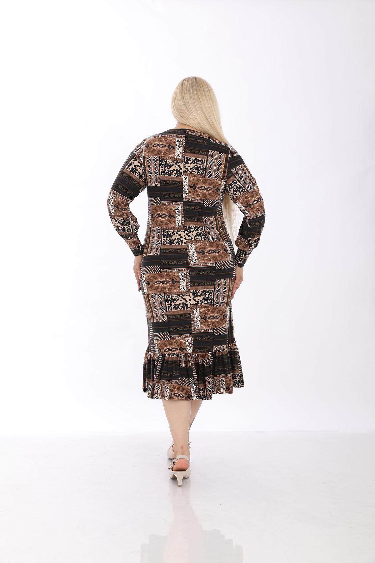 Manşet Kol Kilim Büyük Beden Elbise 33C-1314
