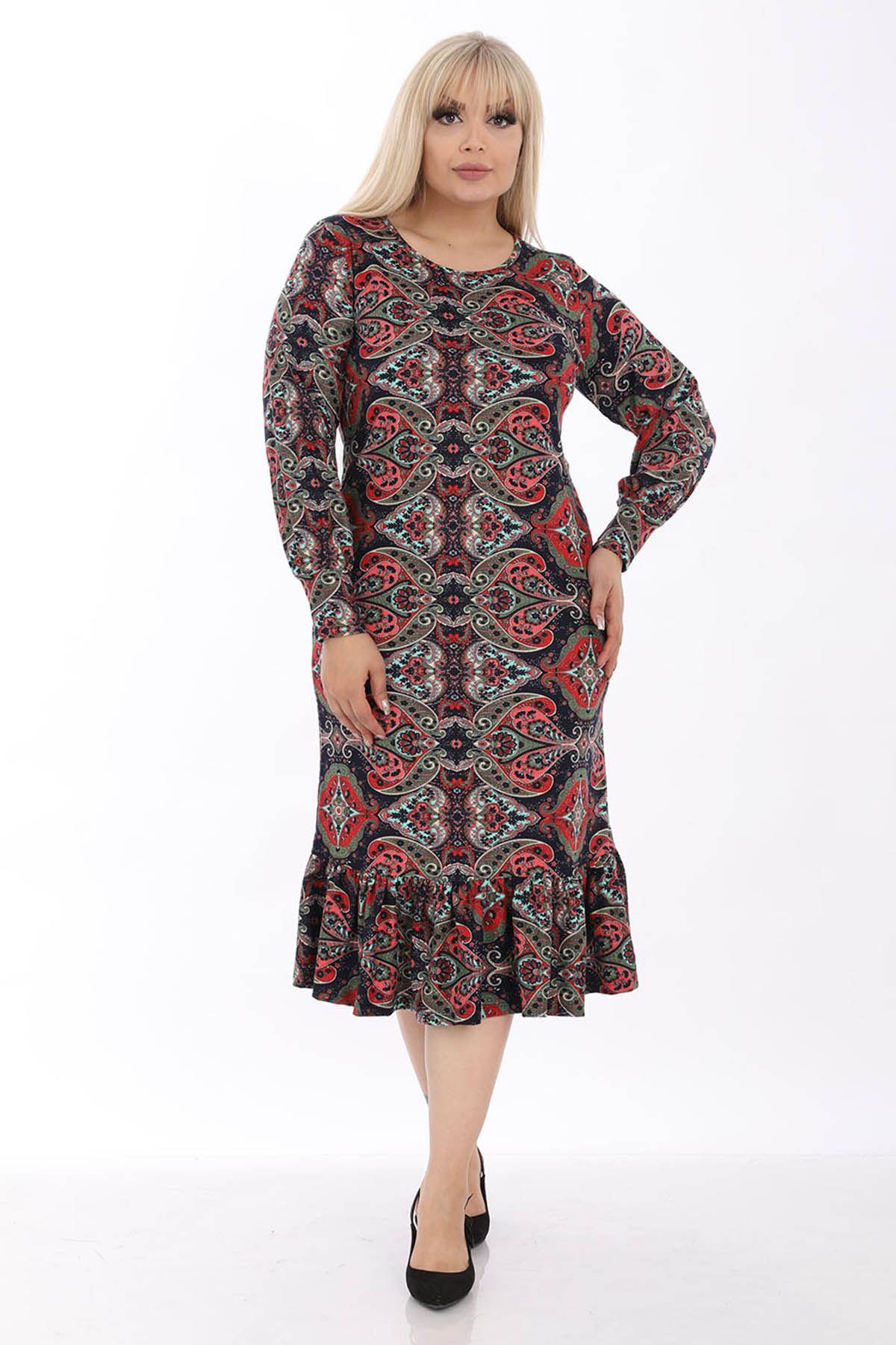 Desenli Esnek Büyük Beden Elbise 33C-1313