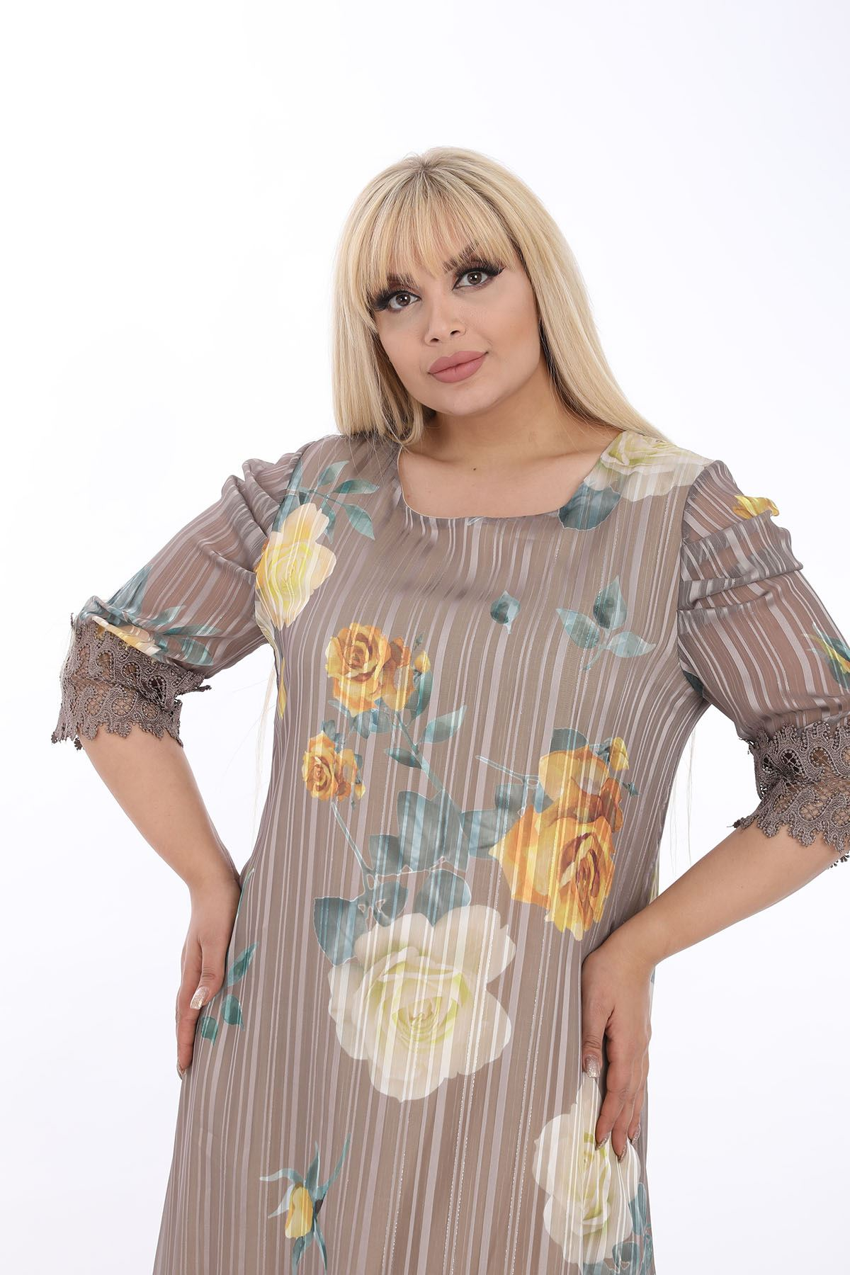Dantelli Astarlı Büyük Beden Elbise J1-1315