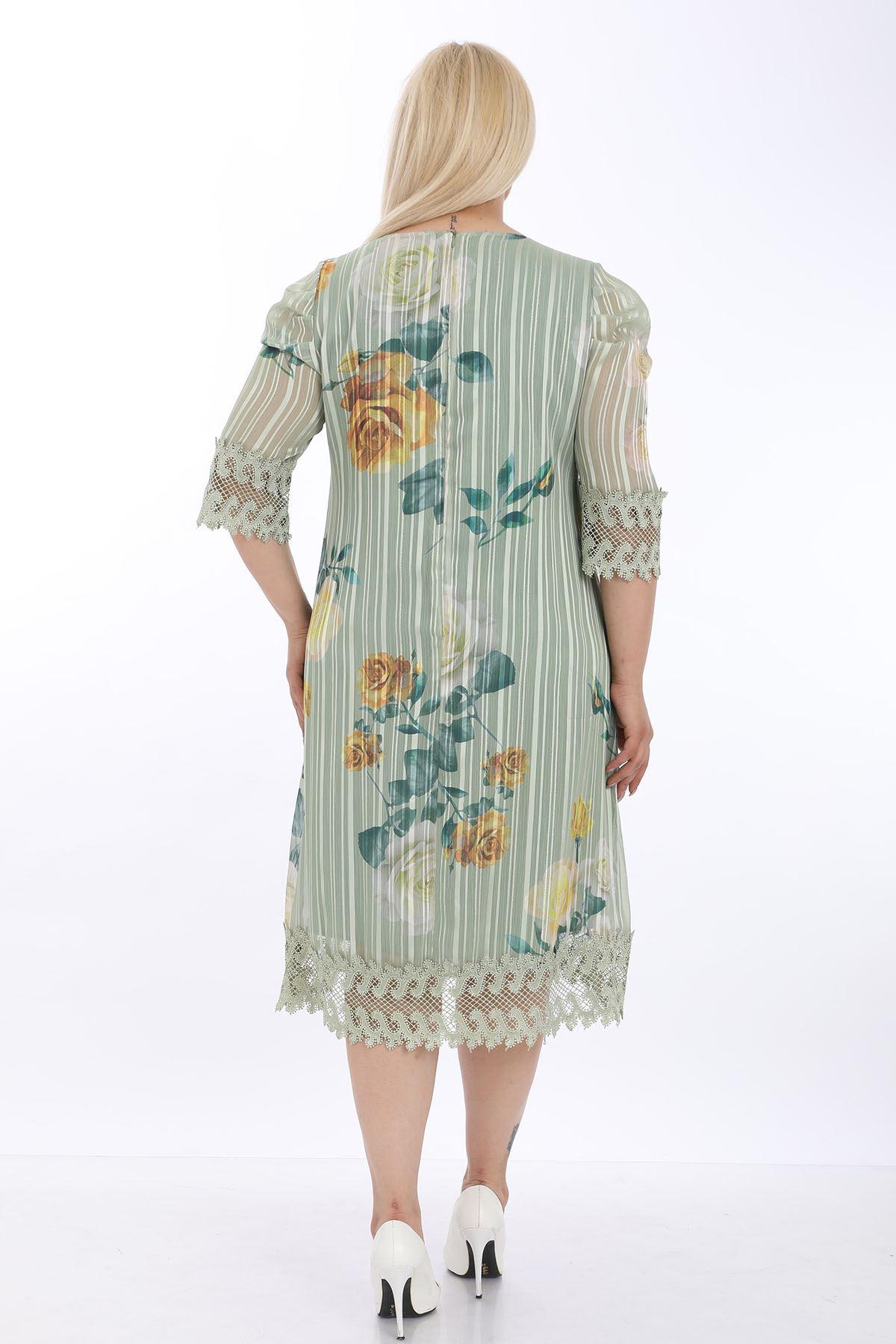 Desenli Astarlı Büyük Beden Elbise J1-1316