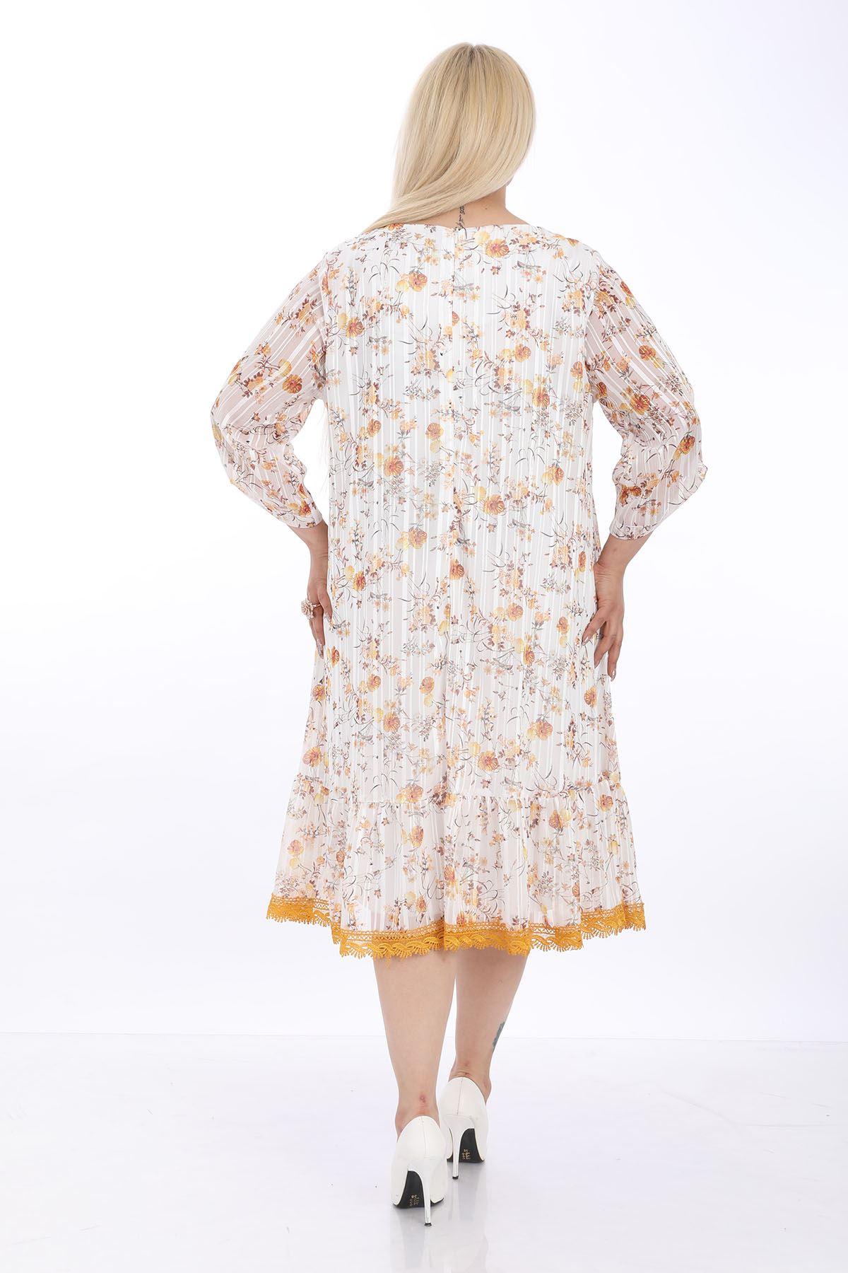 Beyaz Desenli Fırfırlı Elbise J1-1321
