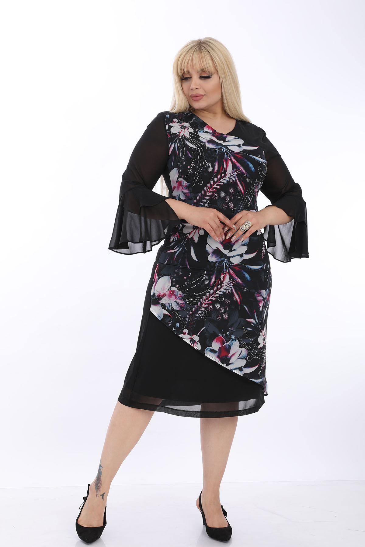 Taşlı Desenli Siyah Büyük Beden Elbise J1-1323