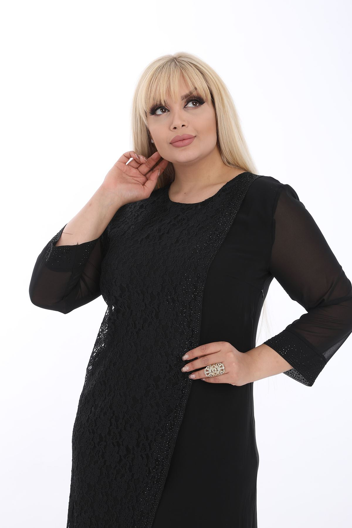 Taşlı Dantelli Siyah Elbise J1-1324