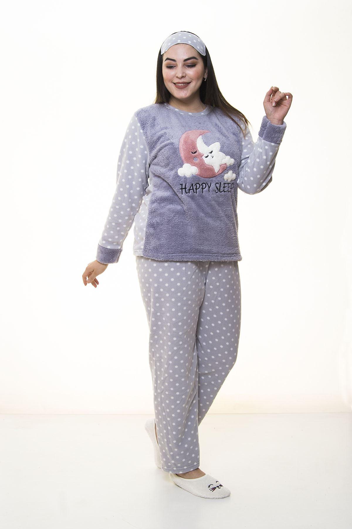 Peluş Polar Gri Pijama Takımı 32C-1387