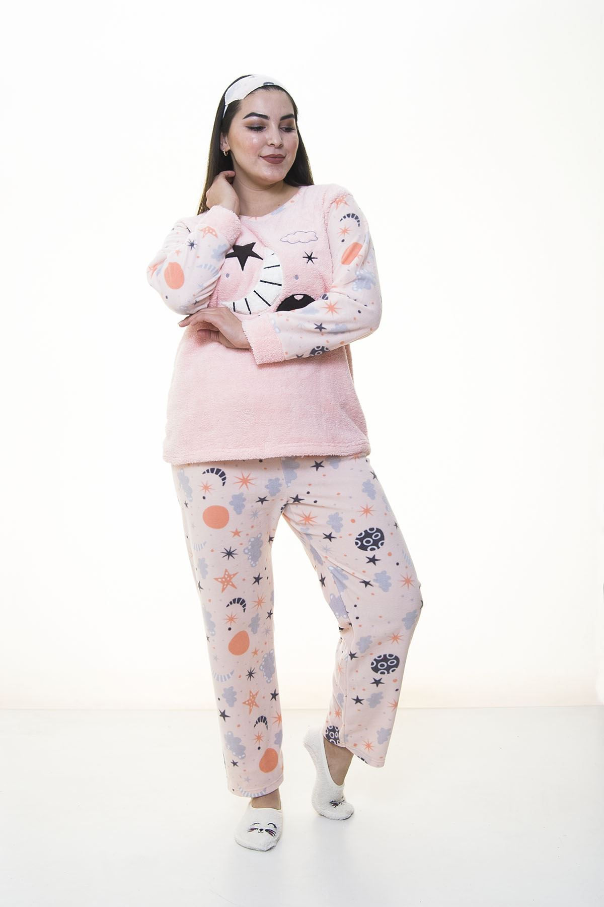 Peluş Polar Pembe Pijama Takımı 32C-1384