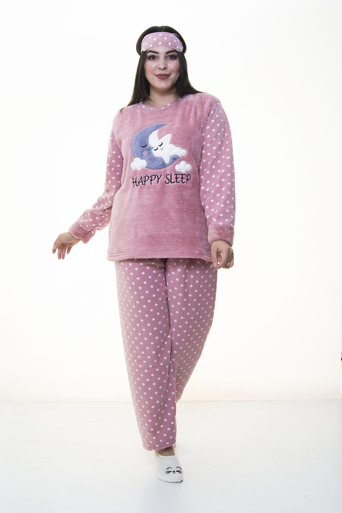 Peluş Polar Pudra Pijama Takımı 32C-1386