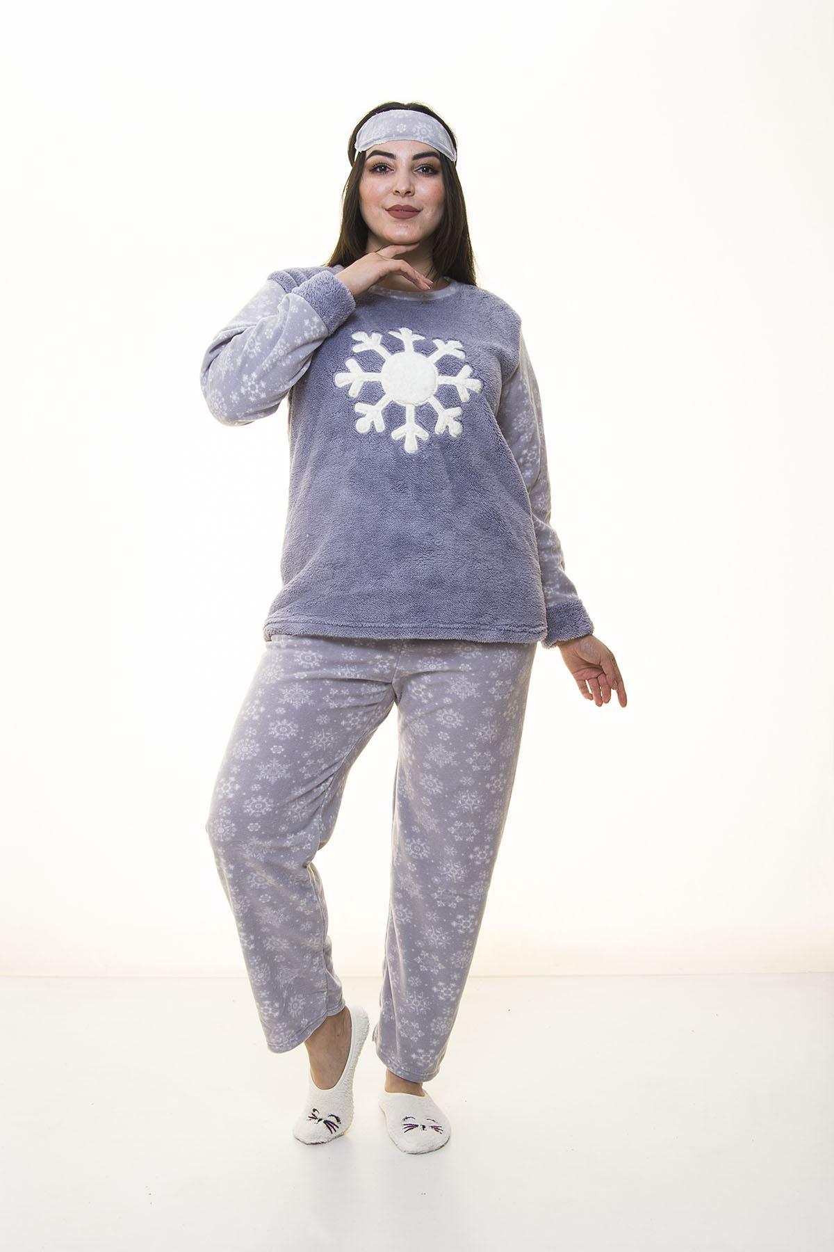 Peluş Gri Pijama Takımı 32C-1385