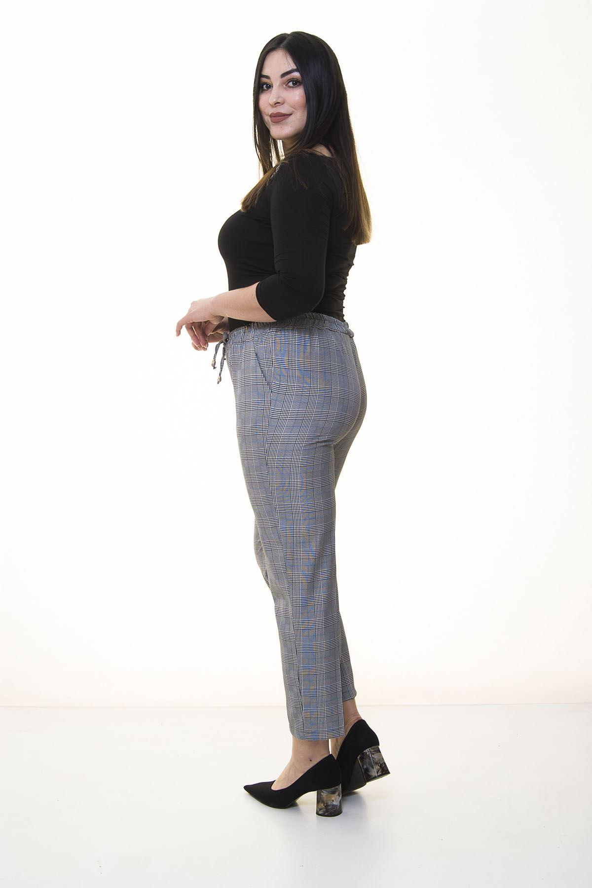 Ekose Desen Kumaş Pantolon 18B-1363