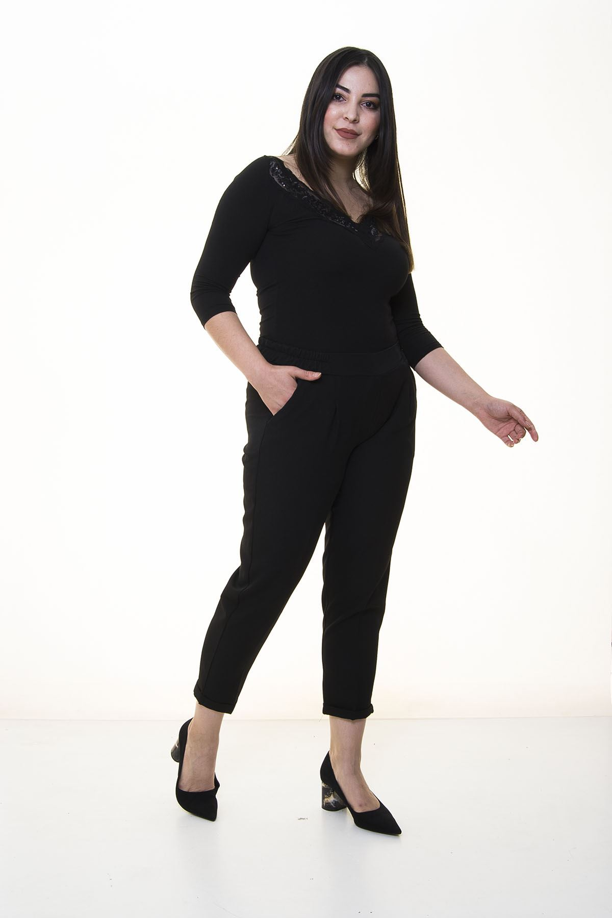 Siyah Duble Paça Kumaş Pantolon 34C-1376