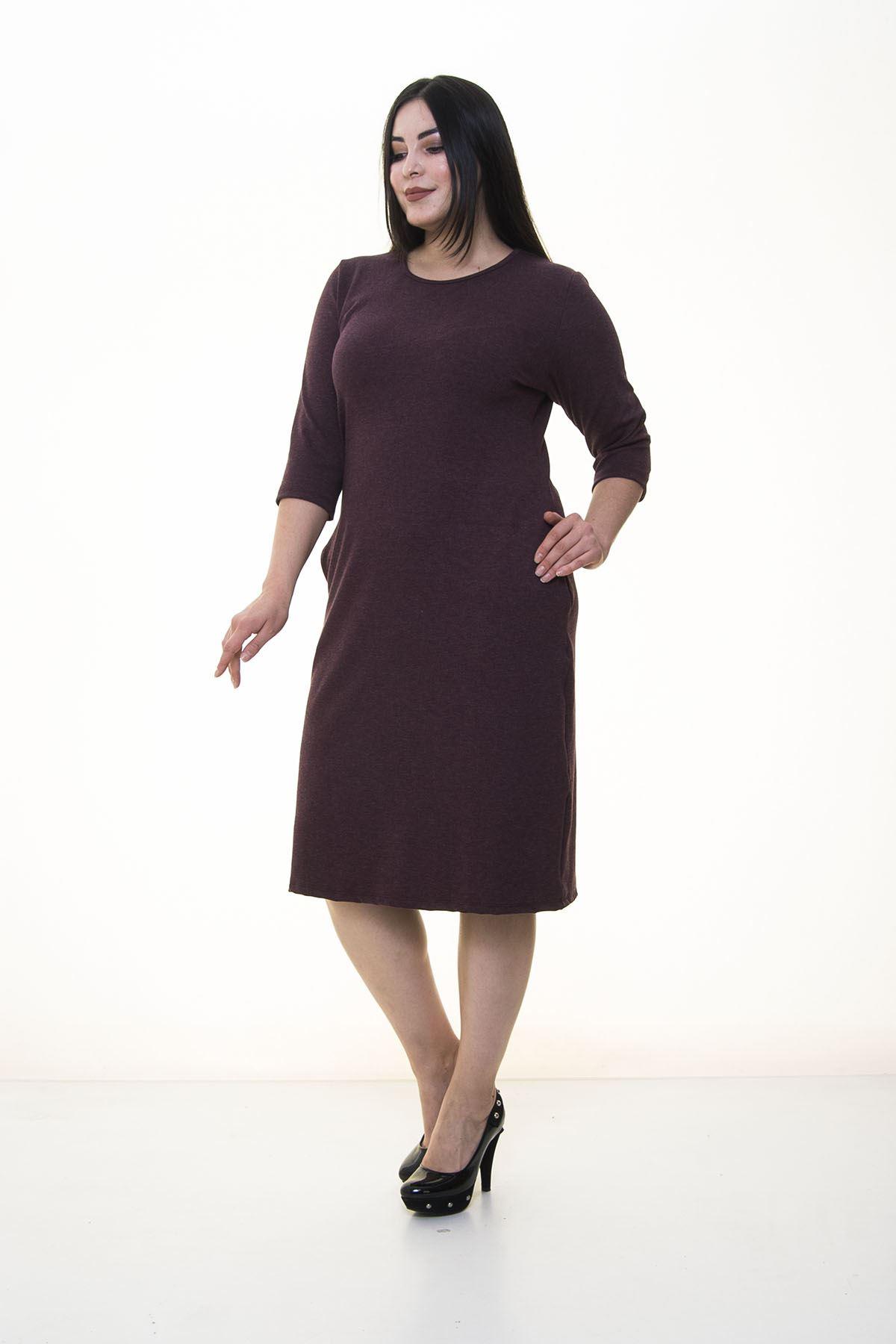 Bordo Cepli Esnek Büyük Beden Elbise 15D-1408
