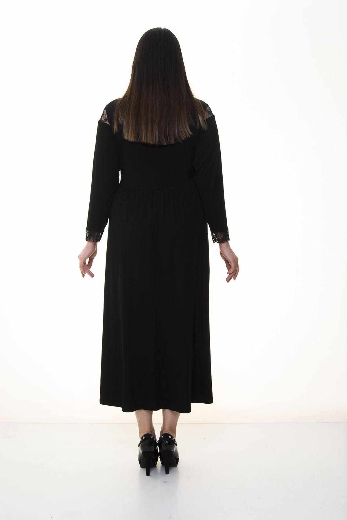 Dantel Detaylı Uzun Büyük Beden Elbise 16A-1382