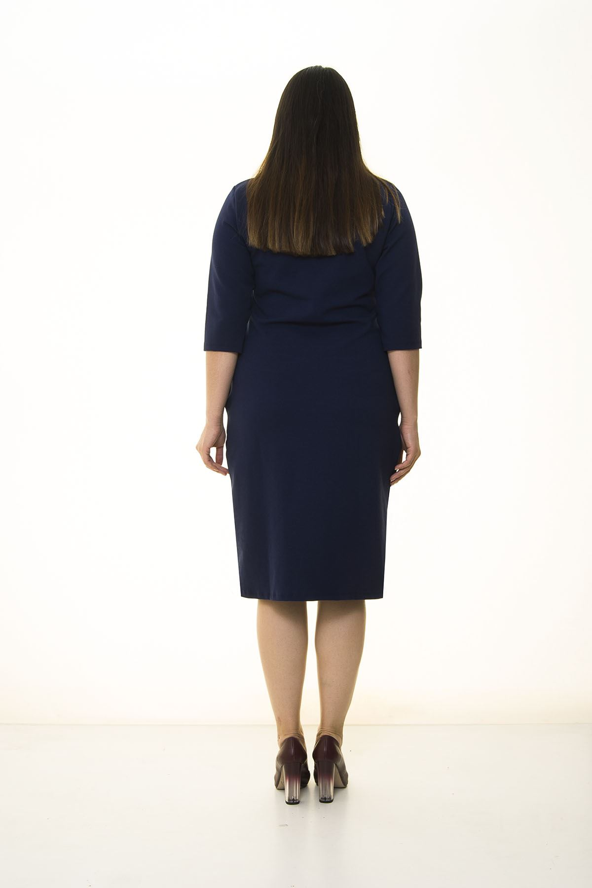 Cepli Lacivert Esnek Büyük Beden Elbise 34F-1407
