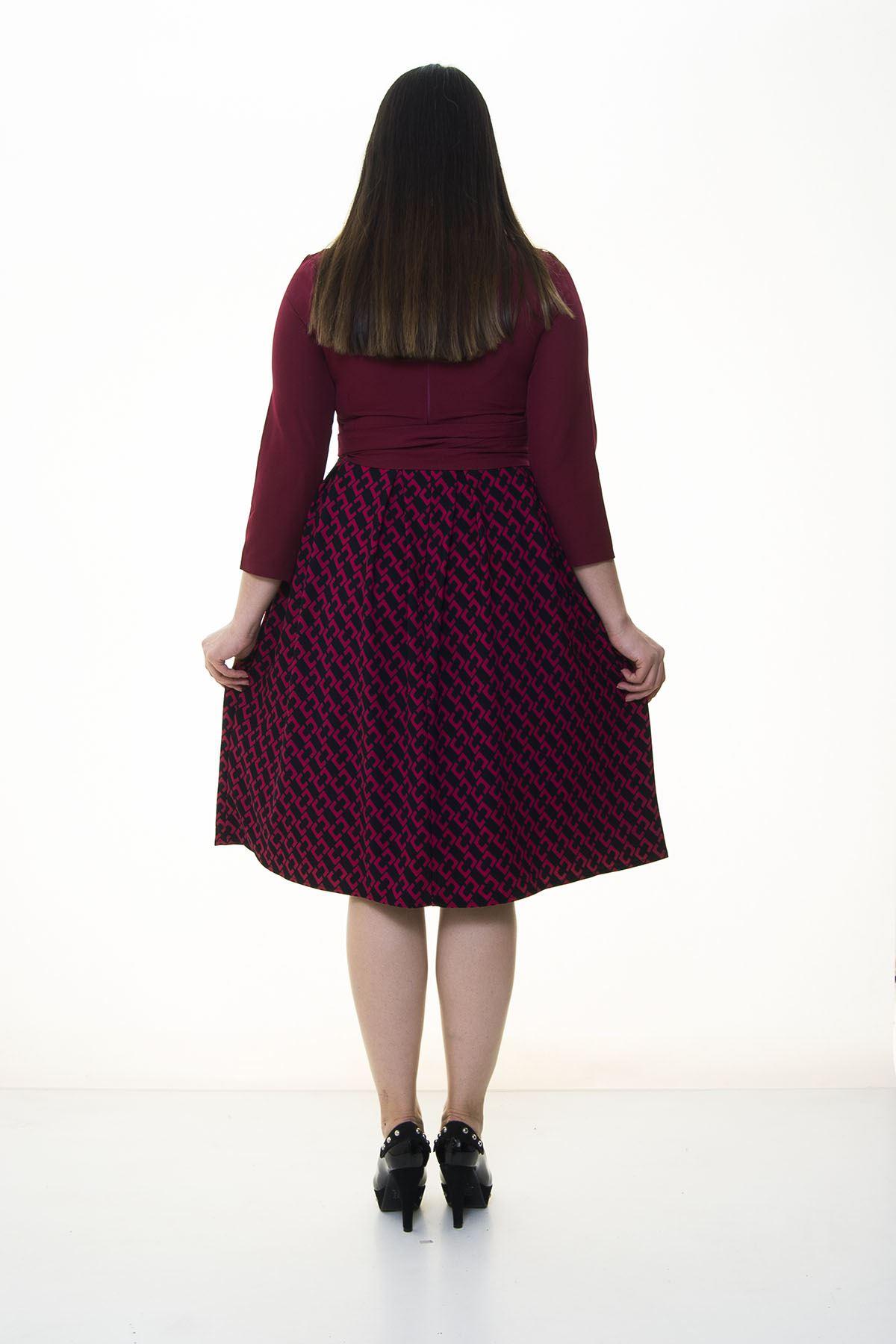 Vişne Eteği Kloş Büyük Beden Elbise 25B-094499