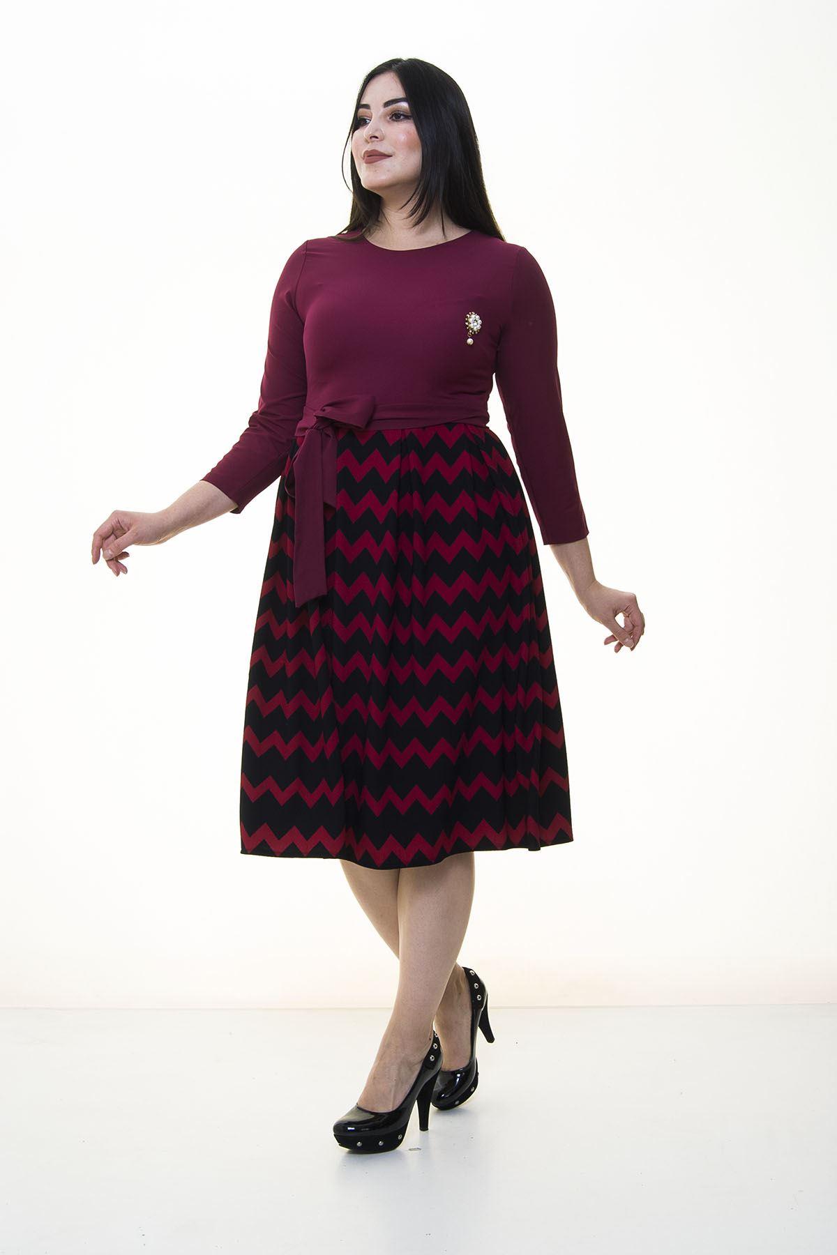 Zigzag Desen Eteği Kloş Büyük Beden Elbise 20C-094599