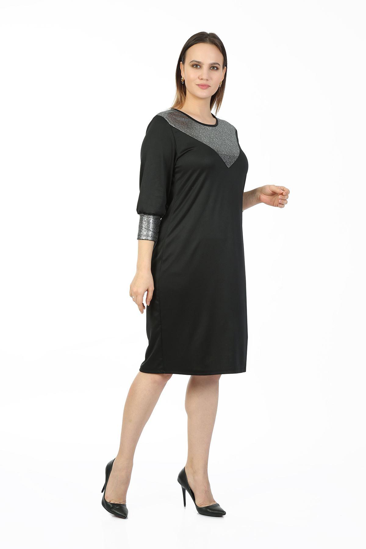 Manşet Kollu Büyük Beden Elbise 29E-1412