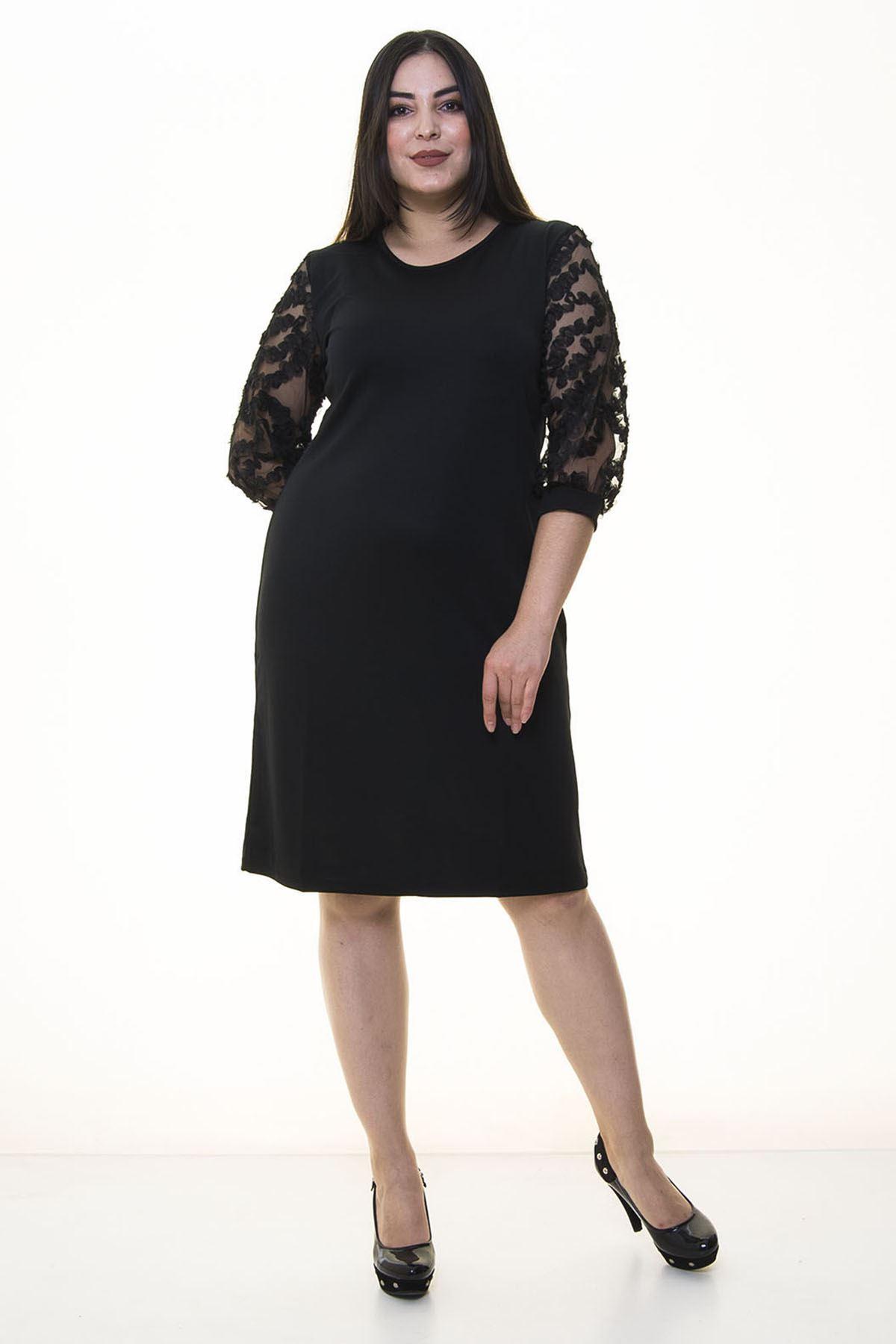 Kolları Tül Fırfır Büyük Beden Elbise 20Y-20897