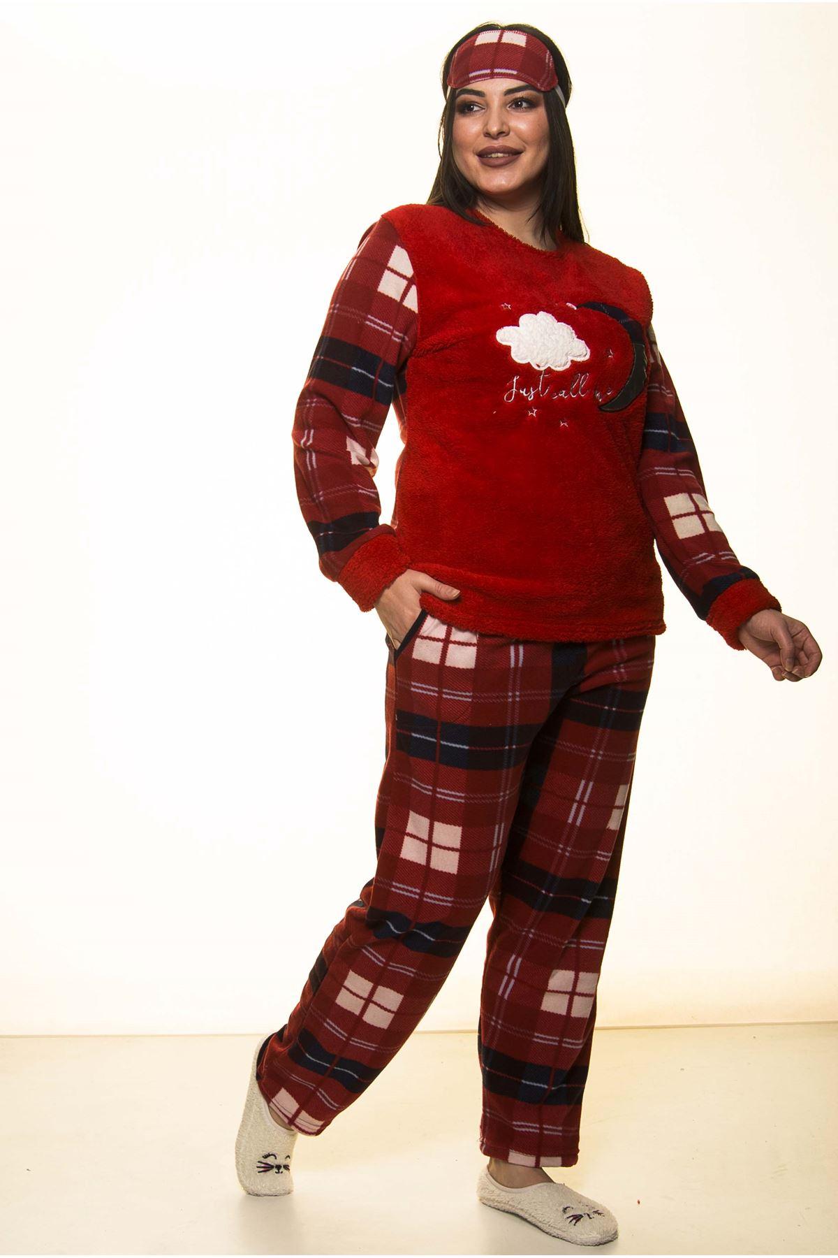 Welsoft Polar Kırmızı Kışlık Pijama Takımı 32C-1465