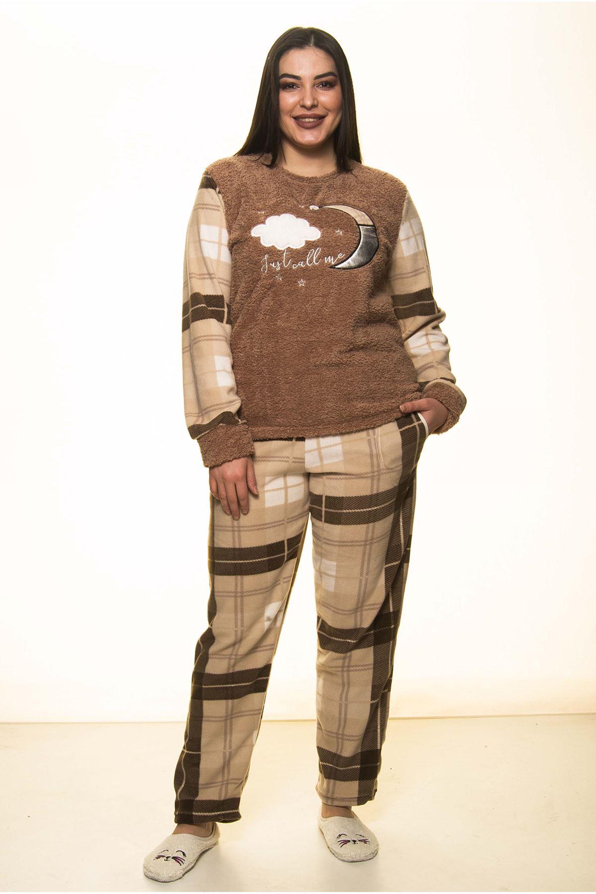 Welsoft Polar Kışlık Büyük Beden Pijama Takımı 32C-1464