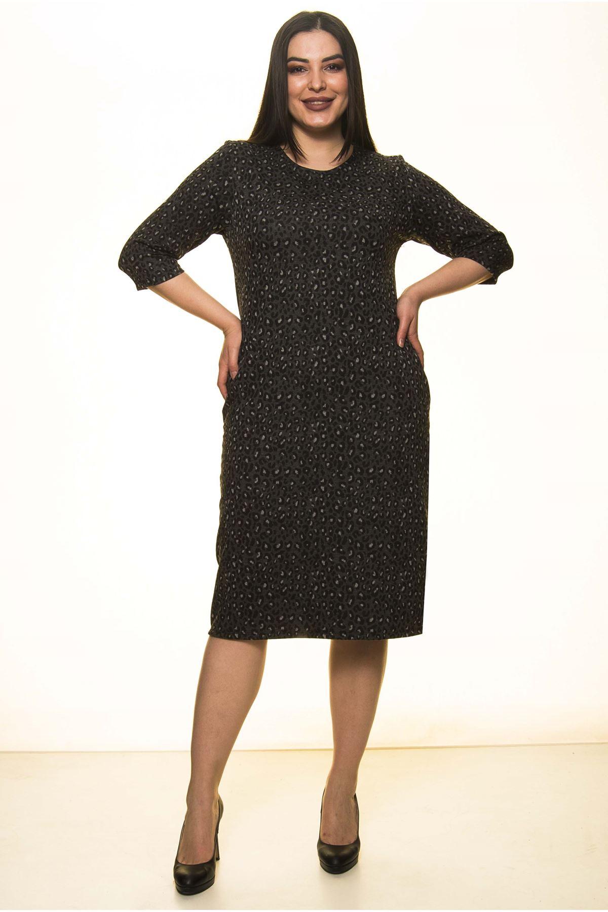 Jakarlı Cepli Kışlık Büyük Beden Elbise 29D-1460