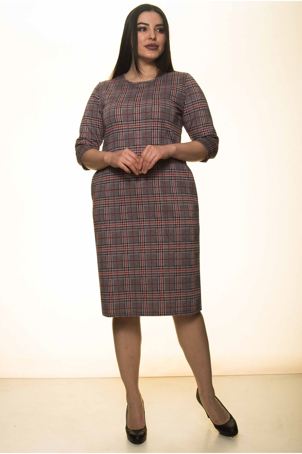 Ekose Cepli Kışlık Büyük Beden Elbise 34D-1549