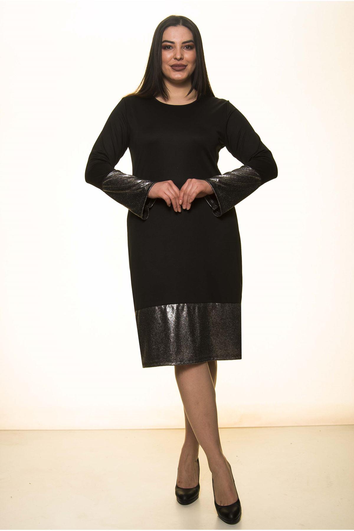 İspanyol Parlak Kol Büyük Beden Elbise 28A-1413