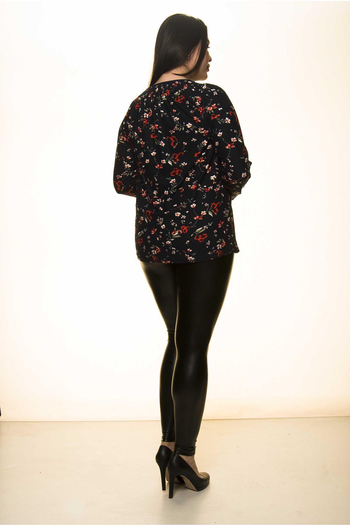 Çiçek Desenli Büyük Beden Bluz 7B-1416