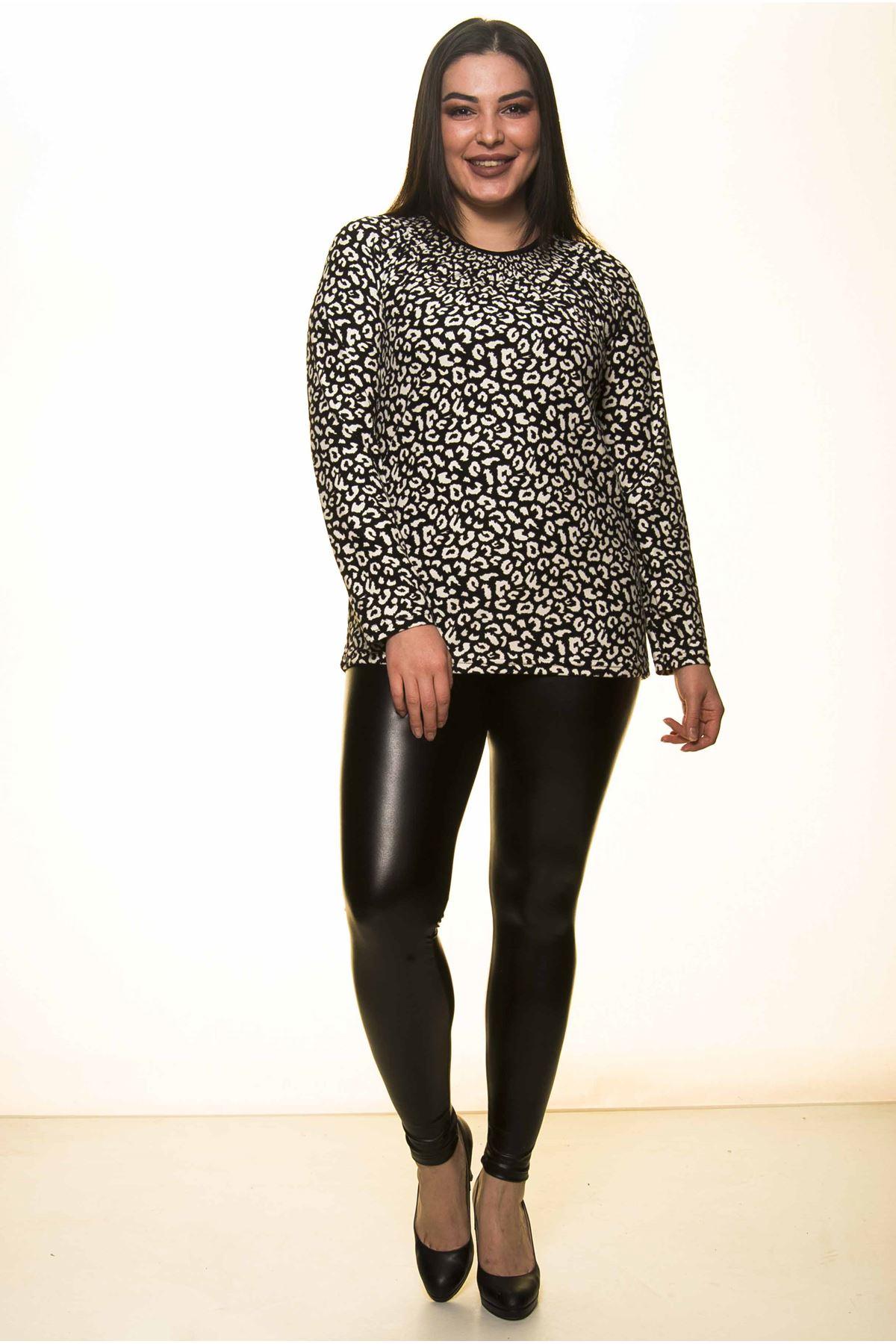 Siyah Beyaz Büyük Beden Bluz 4A-1418