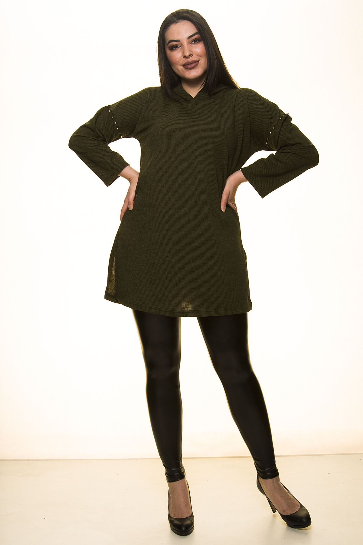 Yeşil Kapüşonlu Bluz 2A-1455