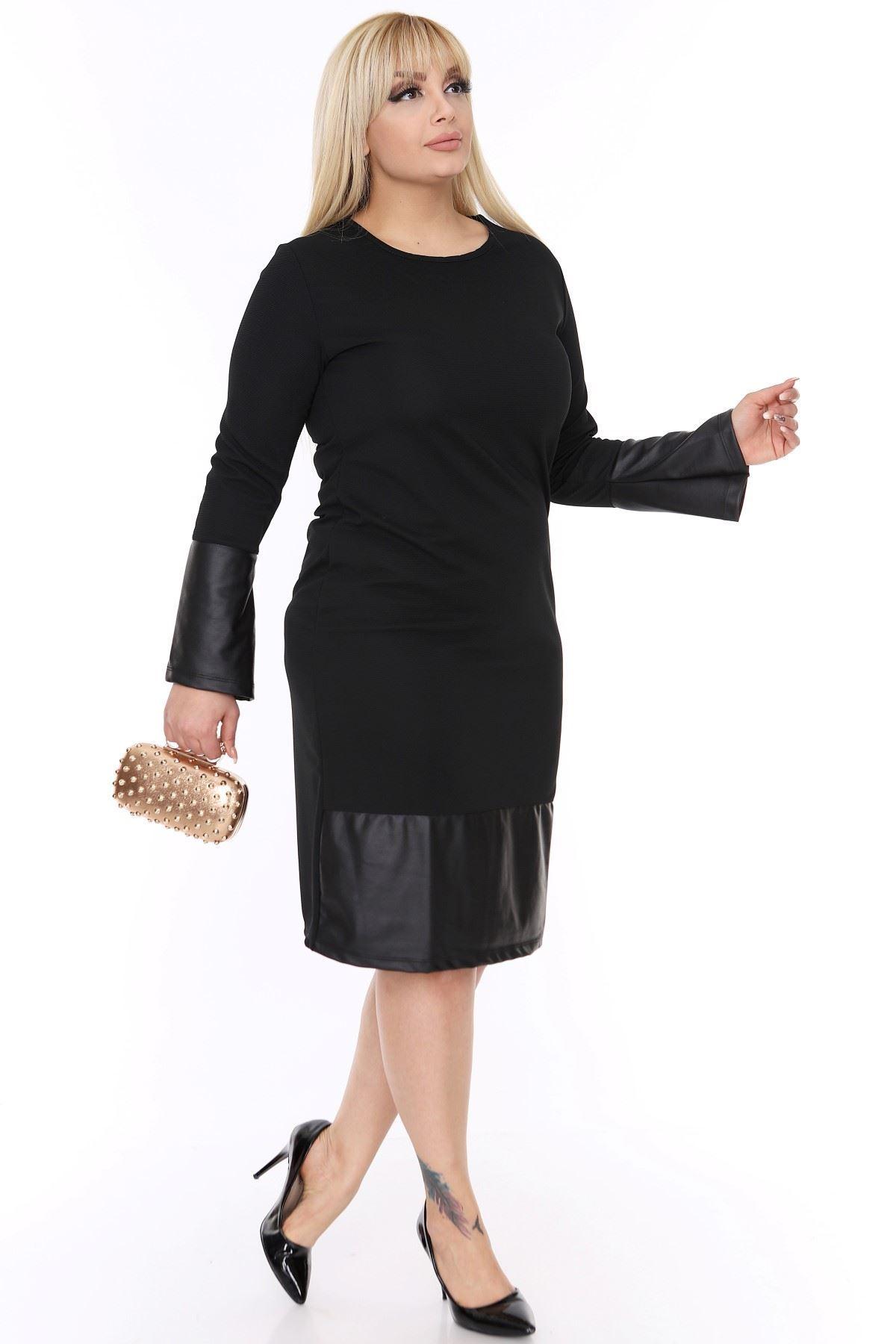 Büyük Beden Deri Garnili Elbise 3D-1383