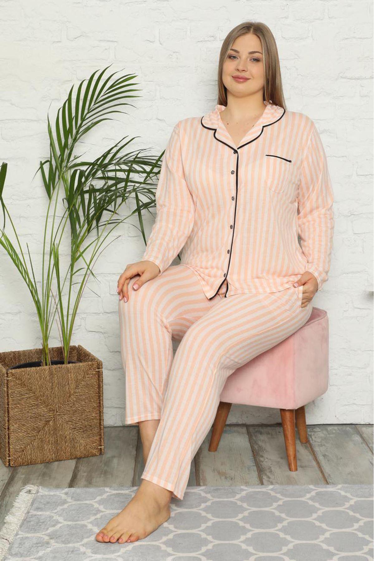 Önden Düğmeli Büyük Beden Pijama Takımı 33F-1544
