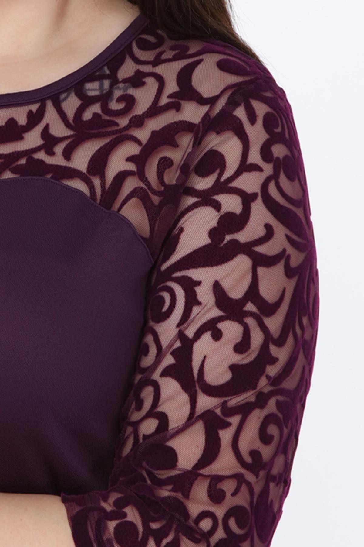 Mor Floklu Büyük Beden Elbise 7A-1033