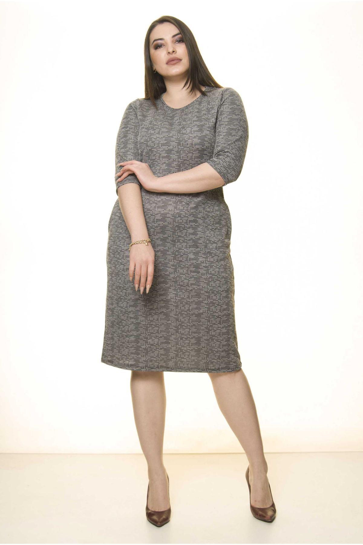 Gri Cepli Kışlık Büyük Beden Elbise 27C-1499