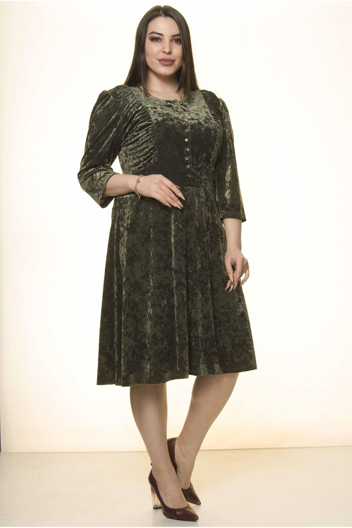 Yeşil Kadife Büyük Beden Elbise 27E-1569