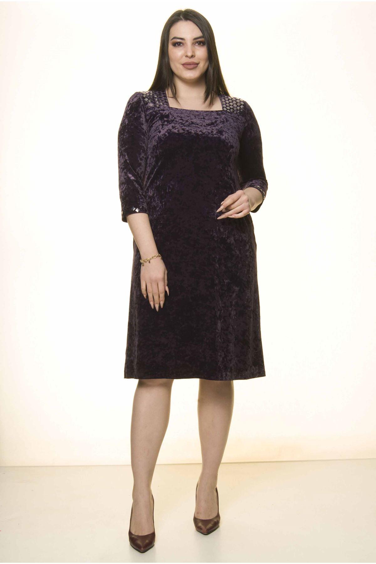 Mor Kadife Büyük Beden Elbise 8E-1570