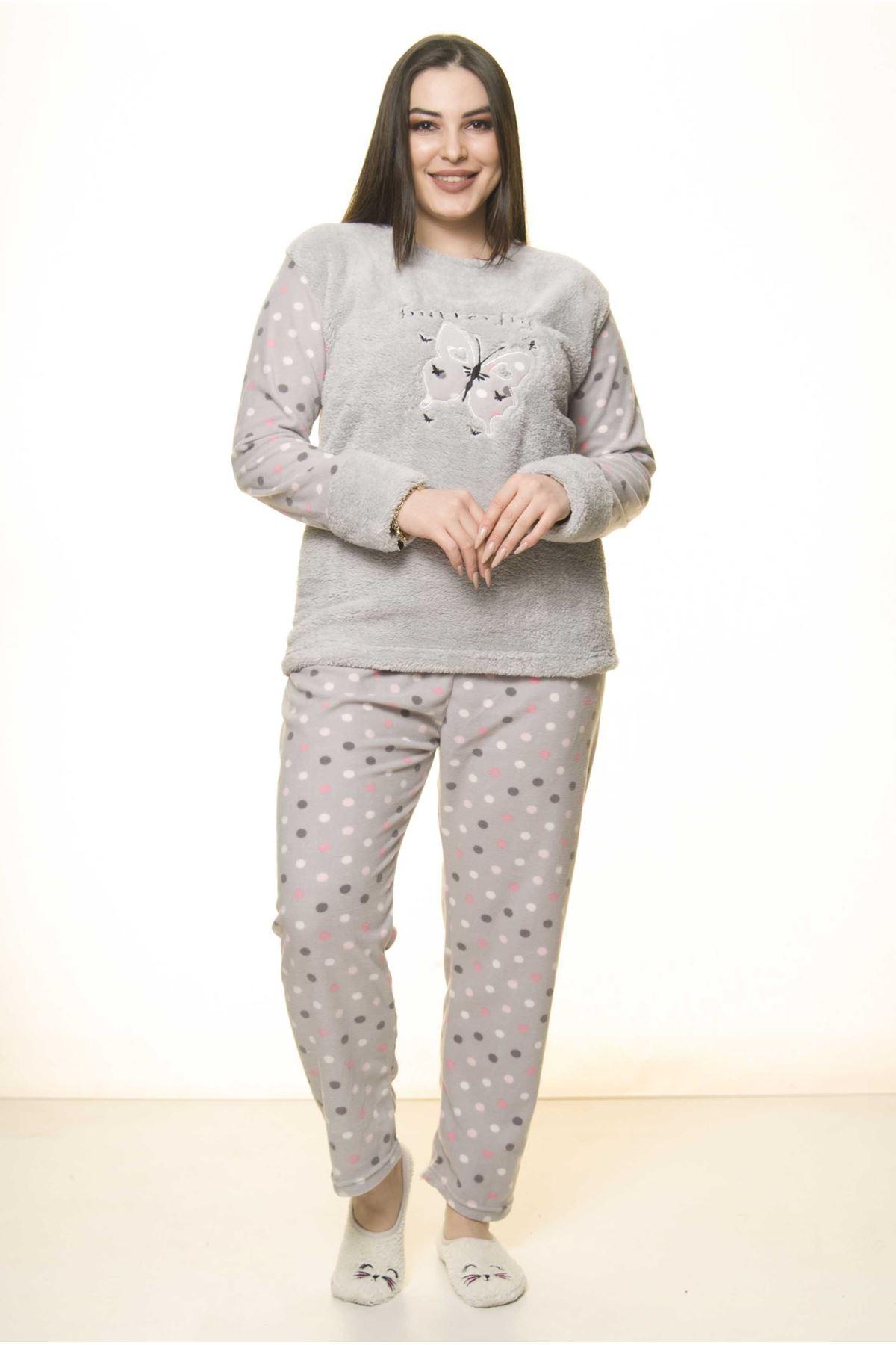 Polar Peluş Kışlık Pijama Takımı 32C-1524
