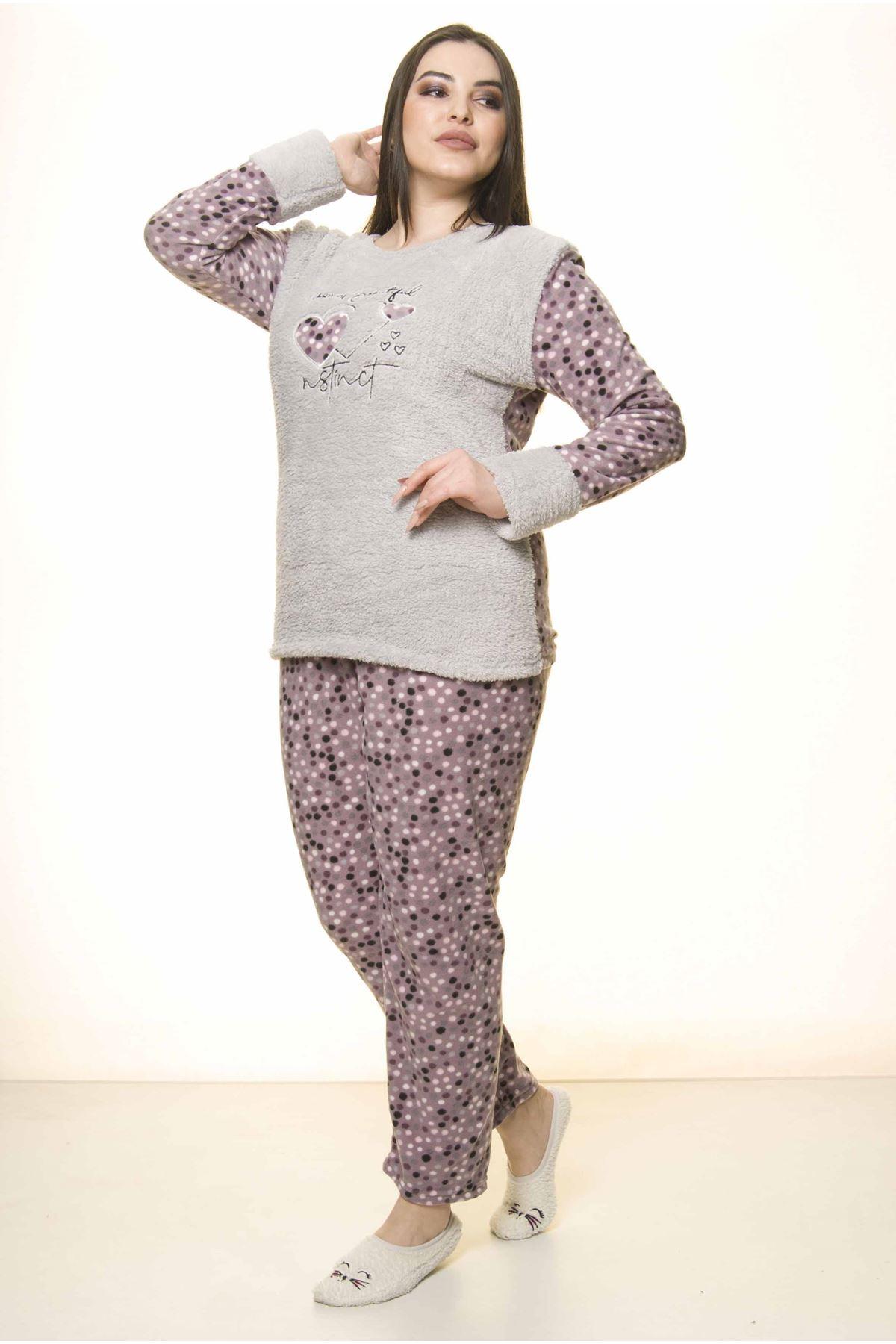 Polar Peluş Kışlık Pijama Takımı 32C-1522