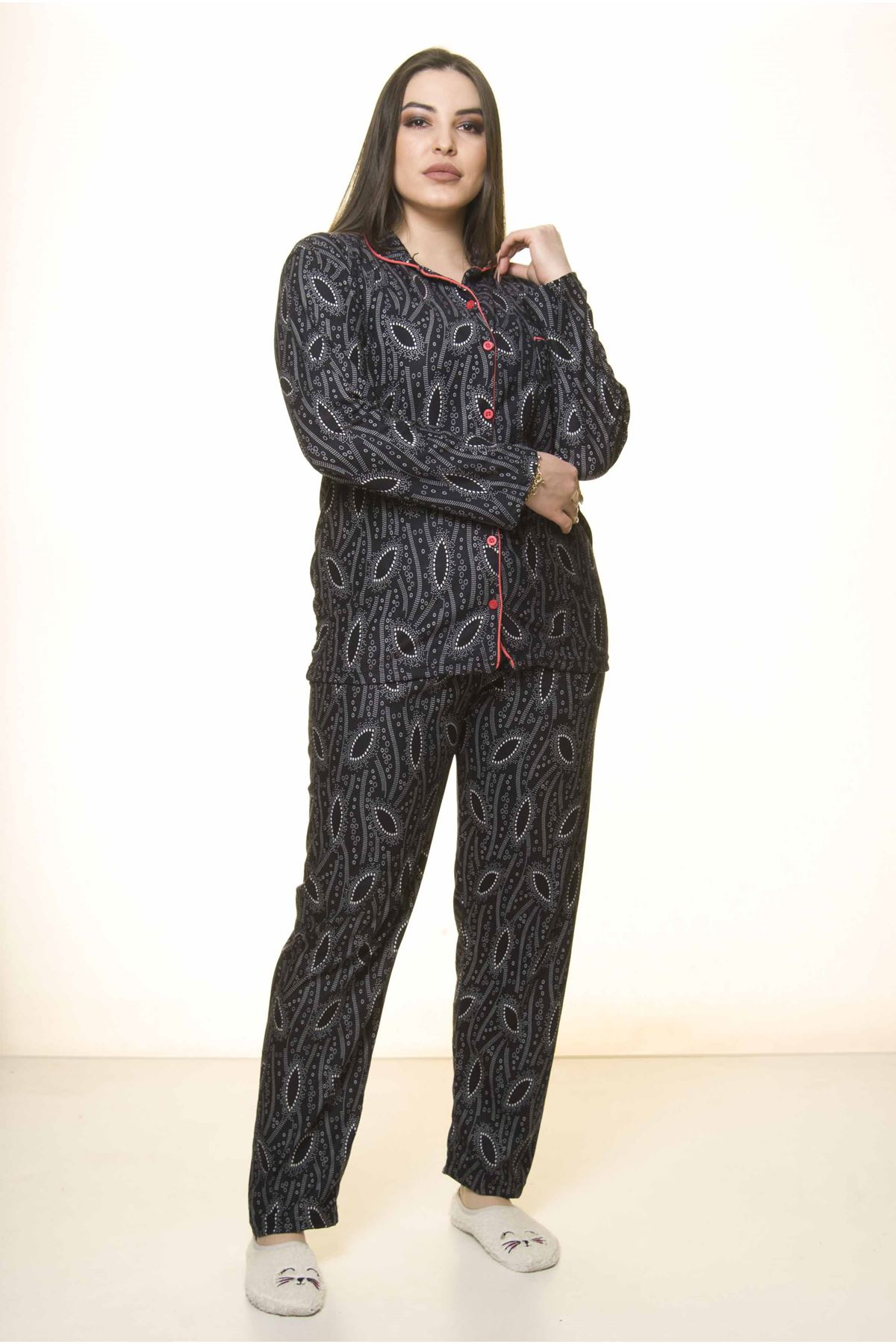 Önden Düğmeli Büyük Beden Pijama Takımı 32E-1530