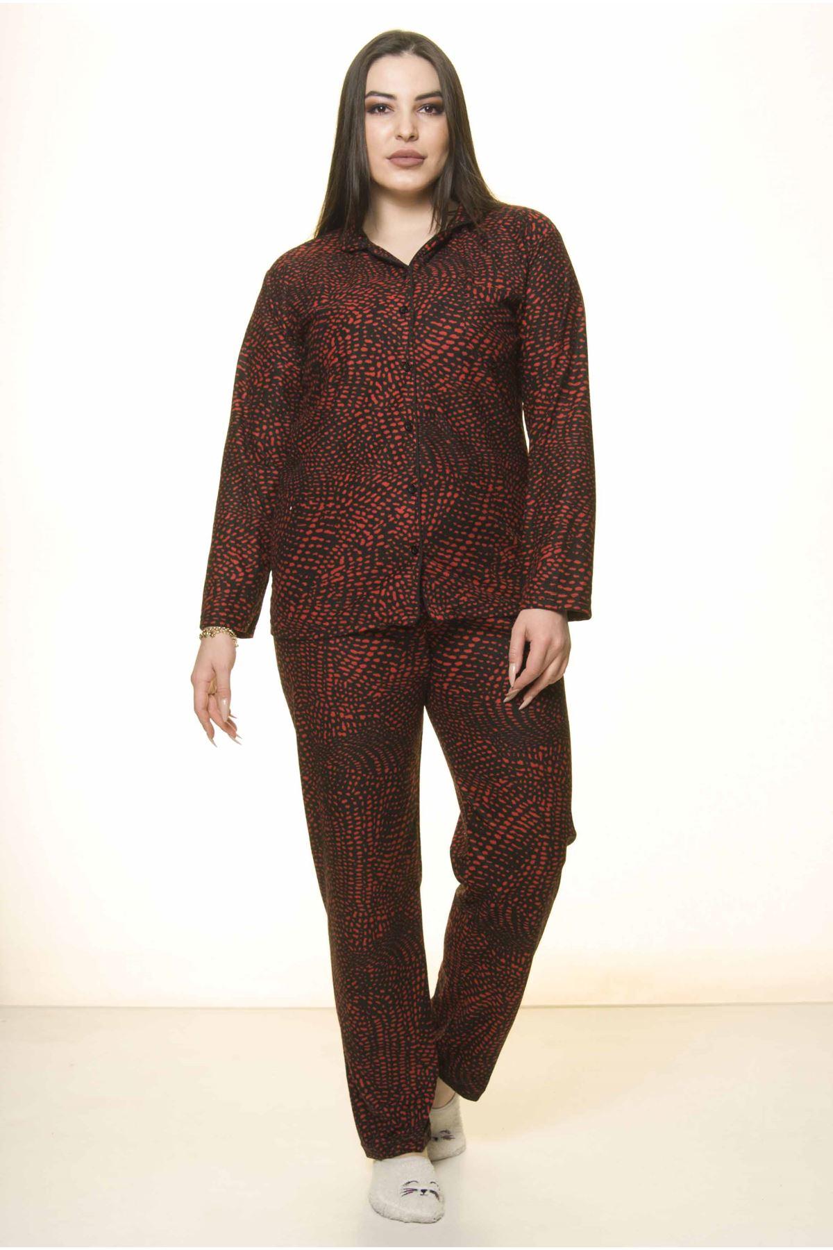 Önden Düğmeli Büyük Beden Pijama Takımı 32E-1527