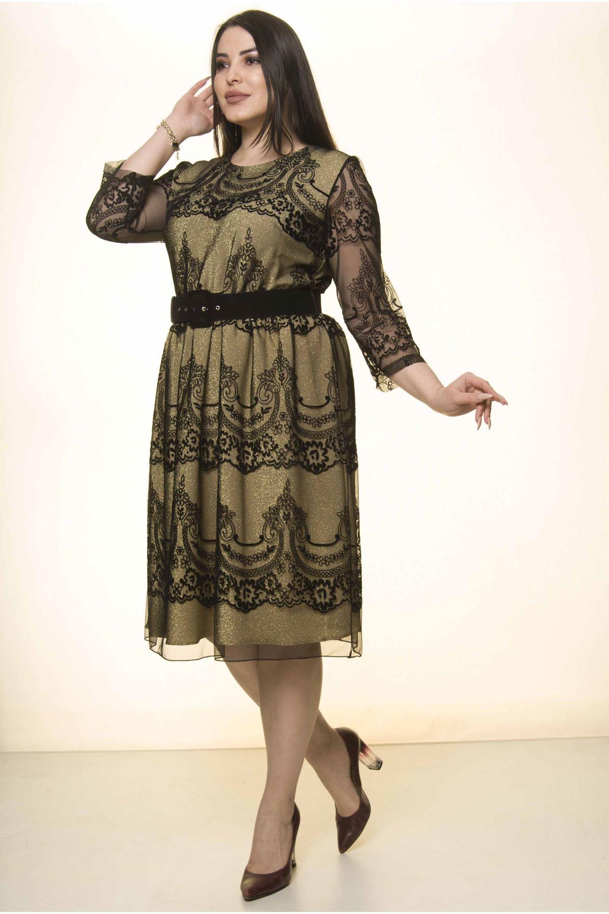 Siyah Dore Astarlı Kemerli Büyük Beden Elbise J7-1572