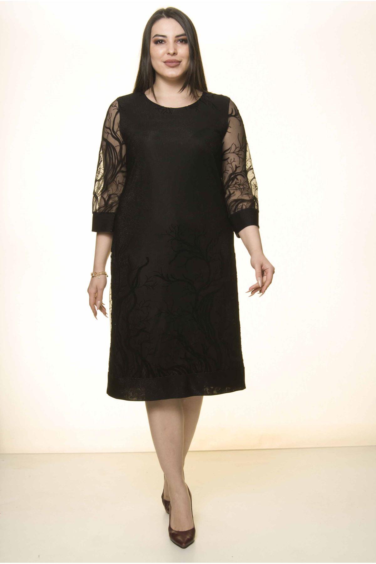 Siyah Simli Nakışlı Büyük Beden Elbise 8A-1575