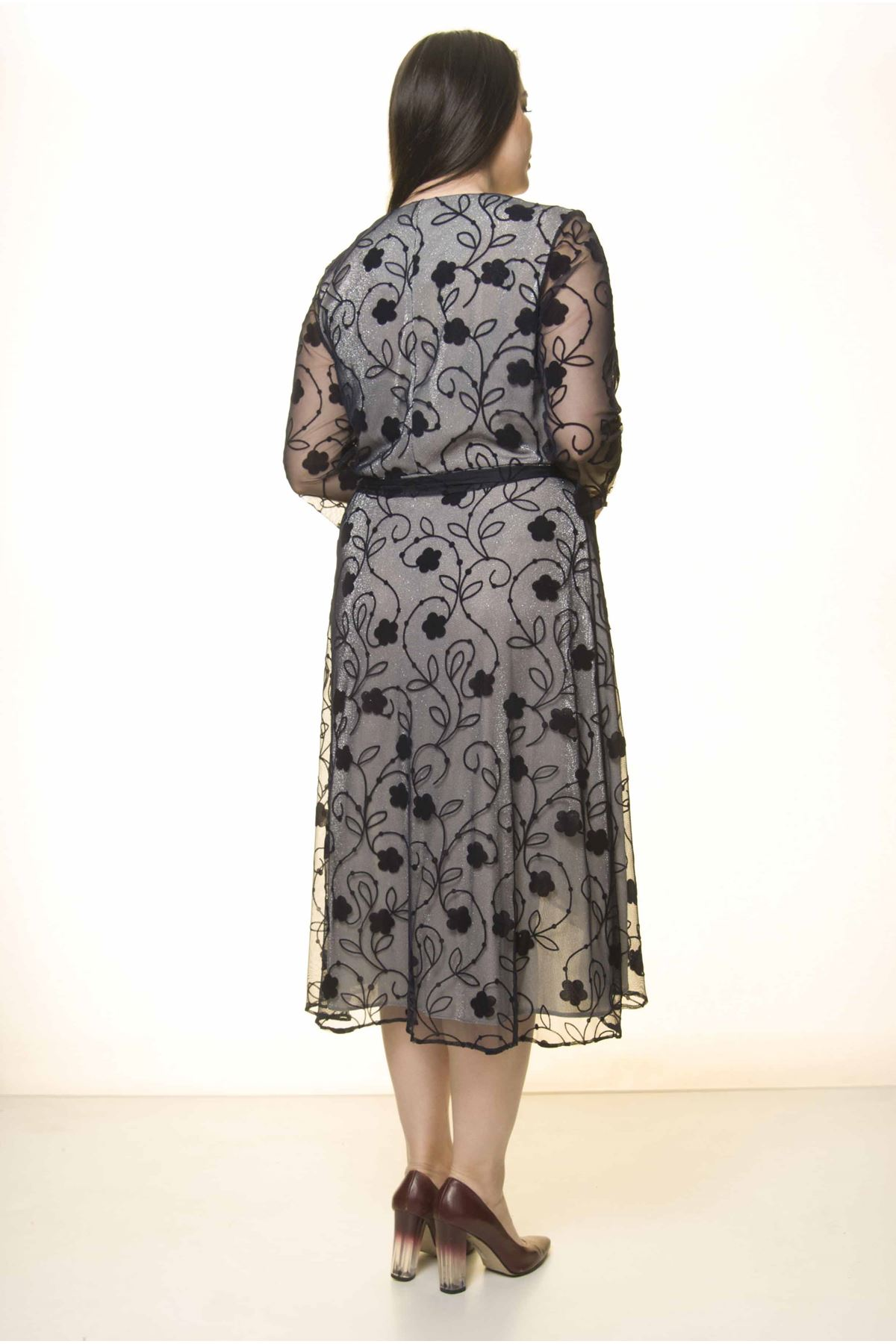 Kruvaze Yaka Kuşaklı Elbise 17D-1574