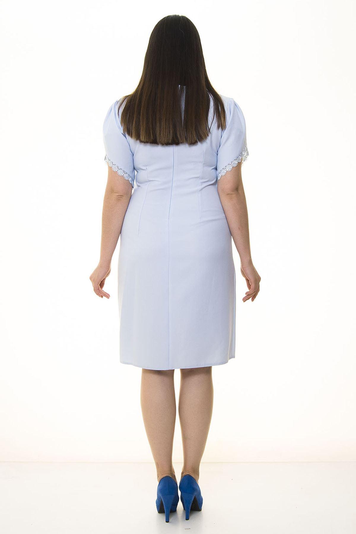 Kolları Fistolu Mavi Büyük Beden Elbise 27C-1326